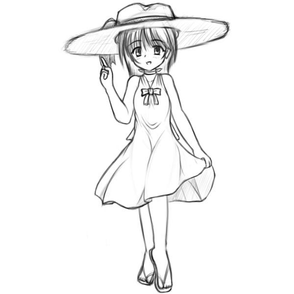 夏少女の子(ラフ)