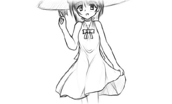 サムネイル画像 - 夏少女の子(ラフ)